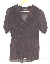 Purple and Brown Pretty Sheer Blouse Uk 12 USA 8 1980's Vintage