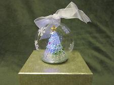 NIB Glass Illuminated Christmas Tree Ornament W Timer Multicolor White
