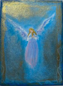 ACEO Original Angel Mini Painting Spiritual Inspirational Healing Religious CCA