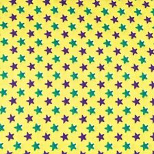 "Vintage Cotton Fabric 35"" W Green & Purple Stars on Yellow Per 1/2 Yd"