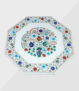 "30"" Marble Table Top Handmade Semi precious stones Art Work Home / Office Decor"