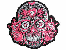 "Rockabilly Day Of The Dead Pink Sugar Skull Biker Big Embroider Back Patch 9.5"""