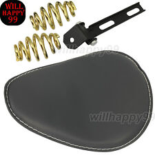 "Leather Solo Seat  3""Gold Spiral Spring Bracket for Harley Honda Bobber Chopper"