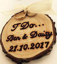 Personalised Wooden Tree Slice Wedding Rings Holder Alternative Natural Rustic