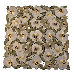 """Embroidered Lace Tablecloth Floral Hand-Cut Table Topper 34""""SQ - Orchid Design"""