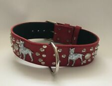 "REAL LEATHER- PIT BULL TERRIER - DOG COLLAR 2"" WIDE"
