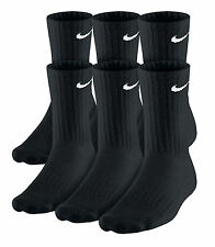 Nike.Men's Women's Performance Cotton Crew Socks 6 Pair Black Size L Shoe 8-12