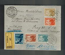 1935 Vienna Austria Registered airmail Cover to Prague Czechoslovakia