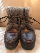 COLE HAAN F6422 Brown Leather Shearling-Lined Ankle Boots Size 7.5 (Fits 6.5-7)