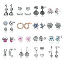 New Fashion Women Elegant Pink Crystals Ear Stud Earring fit 925 Sterling Silver