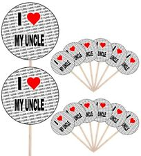 I Love My Uncle Party Food Cup Cake Picks Sticks Flags Decorations Toppers
