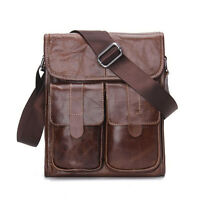"Men Genuine Leather Cowhide Vintage 11"" Crossbody Shoulder Messenger Bag Fashion"