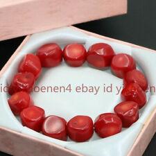 9-13mm Natural Red Coral Irregular Gemstone Beads Stretch Bracelet 7.5 Inch