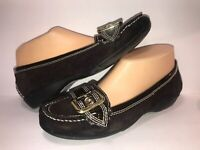 ETIENNE AIGNER SZ 7 1/2 BROWN LEATHER SLIP ON WOMEN Buckle Loafers SHOES BR6-02