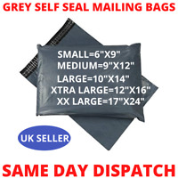Small Large XXL Size Strong Grey Plastic Mailing Post Poly Postage Parcel Bags