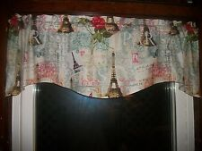 Paris Eiffel Tower French Butterfly Teal  wavy fabric curtain topper Valance