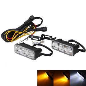 2X LED Car Motorcycle White DRL Daytime Running Light & Amber Turn Signal Lamp #