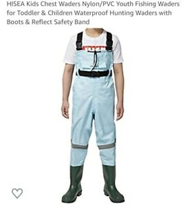 HISEA Toddler & Kids Chest Waders With Boots Size 10 (2-3 Years)New