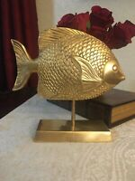 """Rare Vintage Mid-1970S  BRASS FISH On Brass Stand 8""""H x8""""L"""