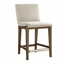 """Tall Curved Back Plush Exposed Wood Frame Counter Stool 