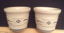 """Longaberger Pottery Pair Votive Cups Woven Traditions Classic Blue 3"""" Tall"""