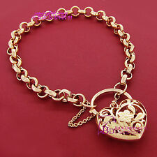 Real Solid Women 9k Rose Gold GF Bracelet Bangle Ring Chain Heart Clasp Padlock