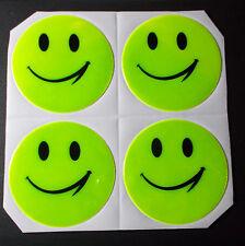 """Reflektor """"Smiley"""" Sticker, selbstklebend, reflektierend, Neon - 4er Set"""