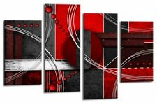 Large Red Black Grey Abstract Canvas Wall Art Picture Print Split Multi 4 Panel