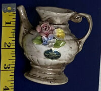 Vintage NUOVA CAPODIMONTE Porcelain Miniature Pitcher Bud Vase Figurine ITALY