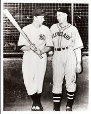Glossy 8x10 B&W 1940s Photo Joe DiMaggio NY Yankees Bob Feller Cleveland Indians