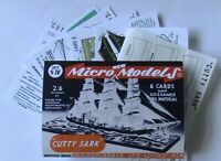 Micromodels SET SIV ships CUTTY SARK Micro New Models card model kit