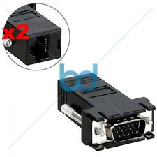 VGA OVER CAT5 Extender Adapter Plug VIDEO VIA ETHERNET PAIR CABLE to 120 Ft 36 M