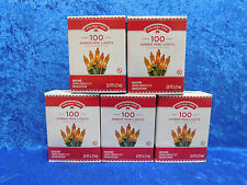 LOT of 5 Boxes Holiday Time 100 Amber Mini Lights Green Wire Christmas