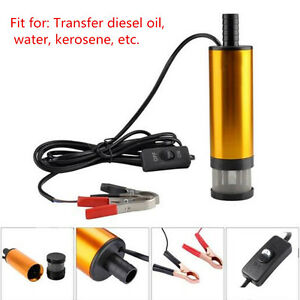 12V Submersible Pump 38mm Water Oil Diesel Fuel Transfer Refueling Detachable