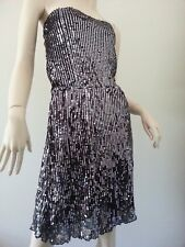 BARDOT sequined sleeveless silver black cocktail dress size 14 BNWT