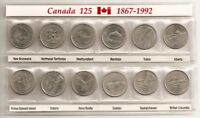Canada Complete Set Of 12 Coins 25 Cent Provinces Of Canada.