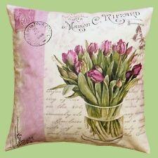 Kissenhülle Kissen Blumen Tulpen Schrift Fotoprint Fotodruck