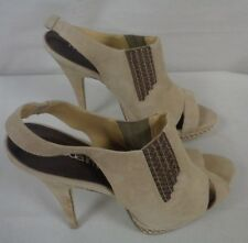 MODA IN PELLE ELASTIC HIGH VAMP SANDALS - TAUPE SUEDE SIZE 7 - SLIGHT WEAR  (TR)