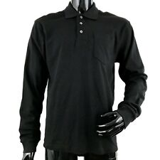 GEORGE Mens Medium Black Long Sleeve Casual Polo Shirt