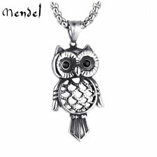 MENDEL Owl Bird CZ Pendant Necklace Stainless Steel Jewelry Free Shipping Silver