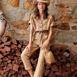 Seed Heritage Linen Jumpsuit size 8 Neutral Brown Romper Boho Festival Casual