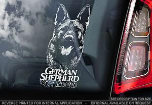 German Shepherd - Car Window Sticker - Alsatian Dog on Board Sign Gift - TYP7