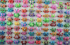 Wholesale Lots 40pcs Mixed Color Charm Polymer clay butterfly Women Lady Rings