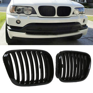 GLOSS BLACK M PERFORMANCE SPORT STYLE KIDNEY GRILL GRILLE FOR BMW X5 E53 01-03
