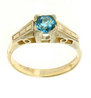 Blue Topaz Solitaire Ring Yellow Gold Blue Topaz Engagement Ring Ladies Size F-V
