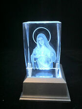 Virgin Mary- 3D Laser Etched Crystal Block With Clear 4 Lights LED Light base
