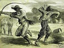 BLACK AMERICANA TEAMSTERS DUEL Civil War 1863 Art Matted