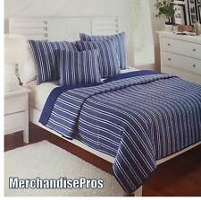 3 Pc Medium Weight Blue Striped King Quilt Set With Standard Shams 106x92 New!