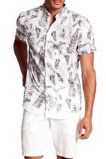 WILLIAM RAST Mens Black Ivory Leaf-Print Short Sleeve Button Up Shirt M