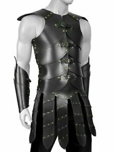 Genuine Leather Men Warrior Leather Armor Vest Gladiator Leather Kilt Armor Set
